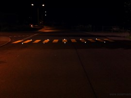 Crosswalks with actively lit LED-lights are clearly visible in poor visibility